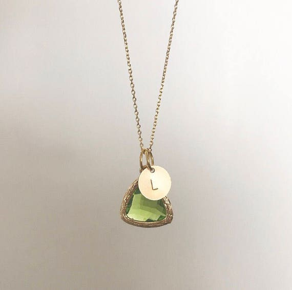 Personalized Initial Birthstone Necklace