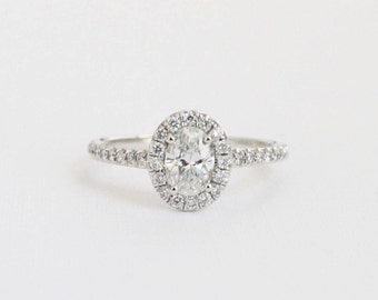 0.84 Ctw. Oval Diamond Engagement Ring in 14K White Gold