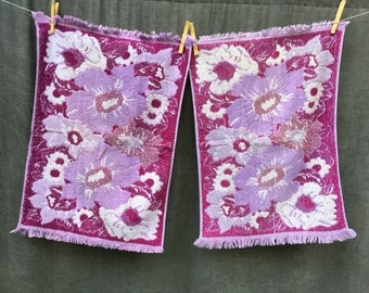 60's Purple and Lavender Hand Towels x2