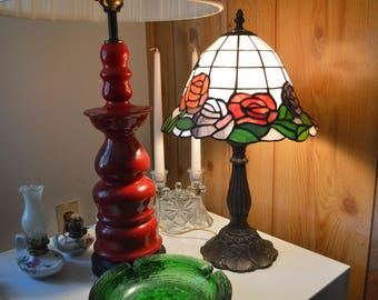 Vintage Stained Glass Electric Lamp/Made in U.S.A.