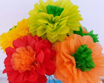 ON SALE..Fiesta tissue paper flowers..Weddings//Decorations//Reception//Baby Shower//Birthday's//Mexico Fiesta