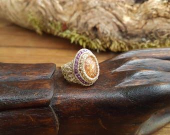 Sunstone Macrame Ring - Size J