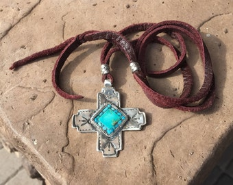 Charlie favour Handstamped Sterling & Turquoise Mosaic Inlay Pendant on Leather Cord