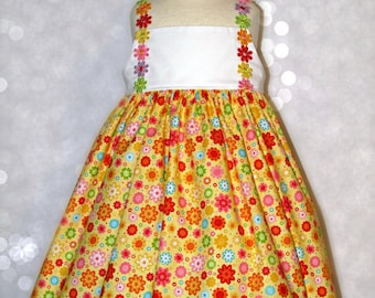 Girls size 4 spring summer sundress with flower trim ready to ship MADE in the USA