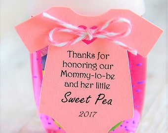 """10 tags ~ Baby Shower ~ Sprinkle ~ Party Favor ~ Girl or Boy Gift Tags ~ Mommy-to-be ~ Honoring ~ Celebrating ~ Sweet Pea ~ Sanitizer ~ 2"""""""