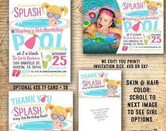 Pool party birthday invitation - Pool party invitation - Summer birthday party invitations - Water slide party - U print!