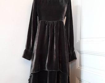 victoria gray silk velvet dress