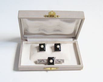 ASIAN Vintage 950 Sterling Silver Black Onyx PEARL Floral Cuff Links Tie Bar Money Clip Set Orig Jewelry Box Mid Century Japanese Cufflinks