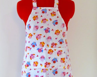 Kids Apron - Colorful Owls Childrens Apron - Childs Apron - Kitchen Accessory