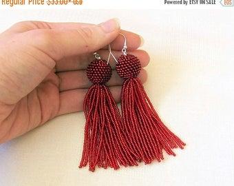 15% SALE Shiny Red Beaded tassel earrings - Statement Earrings - Dangle glitter red earrings - Long tassel earrings - Fringe earrings - bead