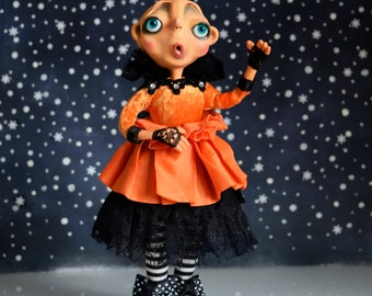 WINTER SALE-OOAK- Halloween Pumpkin Art Doll - Queen Clara - Doll Artist Cheryl Austin