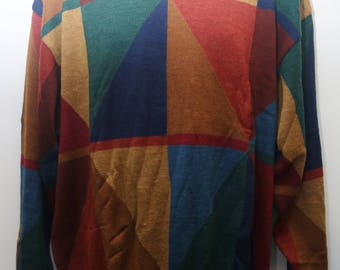 "Rare 90's Vintage ""DALMINE UOMO"" Funky Abstract Patterned Multicolor Sweater Sz: LARGE (Men's Exclusive)"