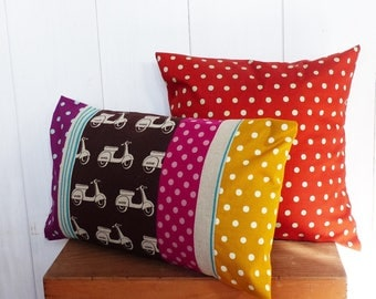 30 x 50 cm of Patchwork fabrics Scooters and mustard polka dot pillow cover