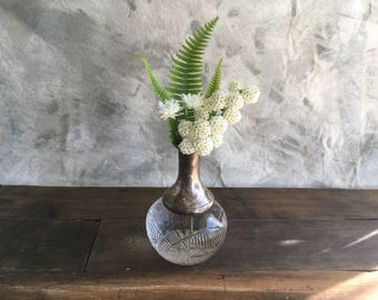 Vintage Glass and Silver Gothic Vase