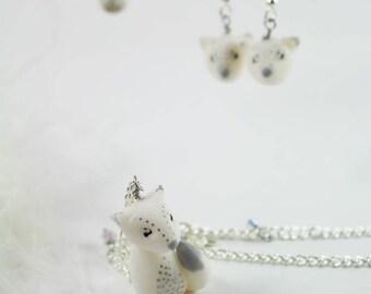 White fox  necklace , Chrismas Jewelry
