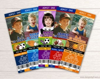 Sports Birthday Invitation - Printable Sports Ticket Invite - Sports Theme Birthday Party - Sports Birthday Party Package - BP01