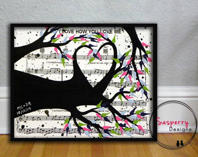 First Anniversary Gift Music Sheet Painting, Paper Anniversary Gift, Tree of Life First Dance Song, Wedding Vow Art