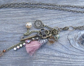 Pink Accented Victorian charm necklace