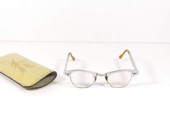 1950s Cateye Reading Glasses, Vintage Midcentury Bifocal Prescription Glasses Frames 12kt Gold Filled