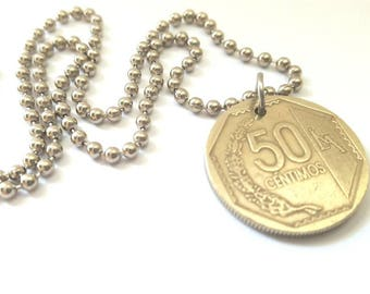 Peru Coin Necklace  - Stainless Steel Ball Chain or Key-chain