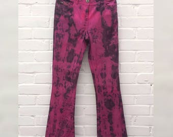 Tie Dye Jeans Bootcut to fit UK size 8 or US size 4 Festival Grunge Goth
