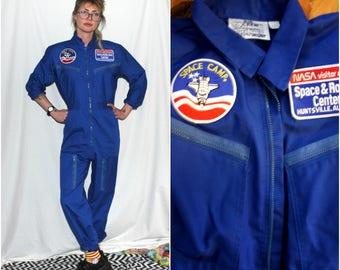 Vintage Space Camp Coveralls. Bright Blue Space And Rocket Center Nasa Mechanics Jumpsuit. Rare Authentic Space Camp Uniform