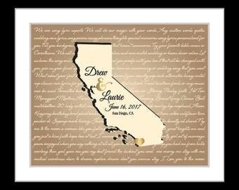 5 year wedding anniversary gift, wedding, song lyric art, wedding gift for husband, california wedding, california map, California state