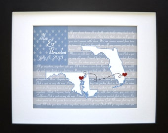 Custom Flag State Maps Art, ANY Special Song Lyrics 1st Ten 10 years Wedding Anniversary Present Husband Gift him Unique Print Home Decor