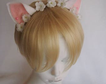 White Mini Cat Ears with Small White Flowers