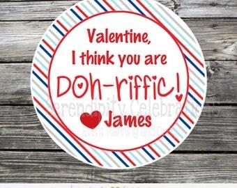 Printable, DIY Play doh Valentine Tag, Printable Valentine Tags, Valentine's Day, Play doh tags, Valentine Stickers, Play Dough, Play Doh