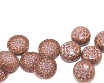 Millefiori mix set of rondelle beads, kaleidoscope beads, handmade beads, 14 abstract pattern beads in brown, round polymer clay beads