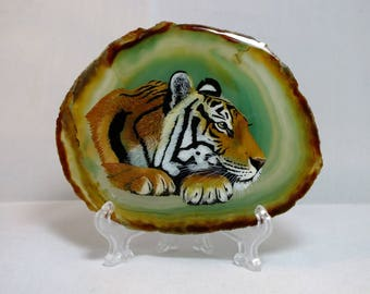 Tiger Painting on Agate