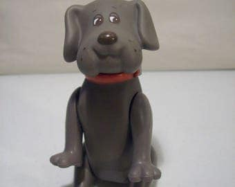 Vintage Pound Puppies Gray Puppy Dog Vinyl Action Figure,Tonka 1986