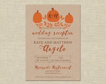Printable Wedding Reception Invitation, Celebration, After Party Invitation Custom Printable 5x7, pumpkin, fall, autumn, halloween