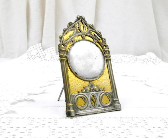 Antique French Gothic Style Silver and Gold Plated Picture Mount, Victorian Free Standing Picture Frame from France, Brocante Home Interior