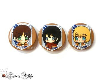 Shingeki no kyojin kawaii pin - chibi Eren, Mikasa and Armin button set (3)