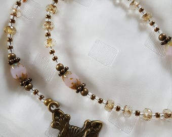 Antiqued pink and translucent picasso bead rosary