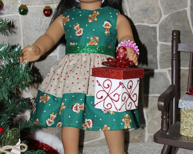 Green Christmas Ginger Bread Print Dress Green Ribbon, Sandals made to fit the likes of American Girl and other 18 inch dolls, FREE SHIPPING