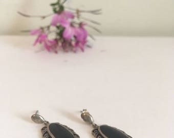 Onyx steeling silver post earrings, dangle classic oval earring - vintage -
