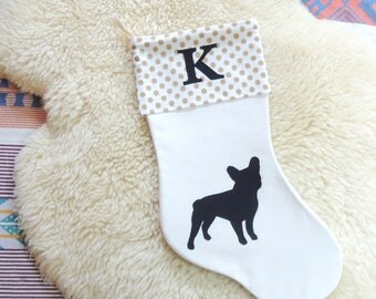 French Bulldog Applique Christmas Stocking + Personalized Monogram - Choose Your Dog Breed