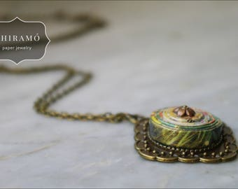 Vintage Style Paper and Brass Necklace