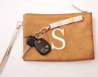 Wrist Strap for Keys Gold Wrist Strap Keychain Rose Wrist Strap Key Chain Wristlet Elastic Keychain Pink Zig Zag Key Fob