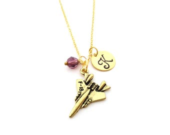 Fighter Jet F-18 Charm - Swarovski Birthstone - Custom Initial - Personalized Gold Necklace / Gift for Her