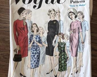 Vintage Vogue Pattern #3010 Basic Dress 1960's UnCut Sz 16 Complete