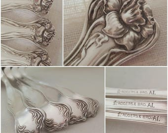 """Early 1900s Silverplate Teaspoons 5 7/8""""- Set of 4 - Mystic by Rogers 1903 - Art Nouveau"""