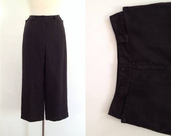 black linen pants womens cropped black pants wide leg pants black baggy trousers 90s clothing