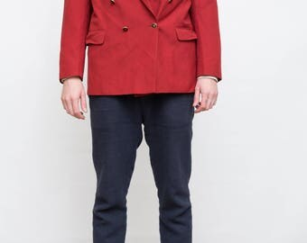 80s Vintage Red Men Wool Jacket, Double Breasted Jacket, Extra Large Men Blazer