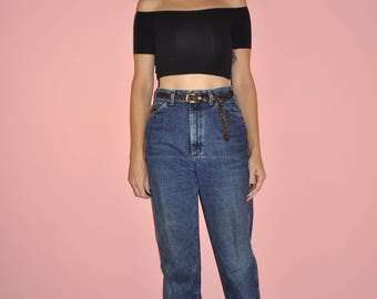 Vintage 80s 90s Stone Washed High Rise Dark Denim Mom Jeans Small 4/6