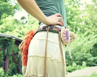"Pixie Pocket Belt ""Foxglove"" / Faux Fox Tail Festival Crochet Utility Belt / Tribal, Fantasy or Cosplay Pocket Hip Belt - Ready to Ship"