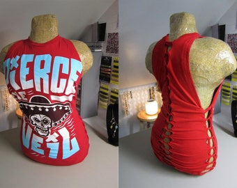 Pierce the Veil Refashioned Red T-Shirt into Tank Top with Back and Side Woven Cut-Outs